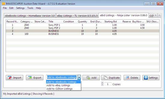 Imagoscape® Enterprise - Auction Data Wizard - Screenshots